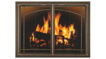 Arch Window Pane Design Oriana Fireplace Door With Brushed Copper Trim - Handles no longer available