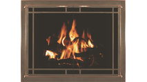 Oriana Fireplace Door With Window Pane And Brushed Copper Trim On Main Frame And Door