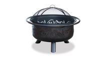Oil Rubbed Bronze Wood Burning Outdoor Fire Pit with Swirl Design