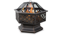 Oil Rubbed Bronze Wood Burning Outdoor Fire Pit with Lattice Design
