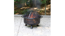 Oil Rubbed Bronze Wood Burning Outdoor Fire Pit with Geometric Design