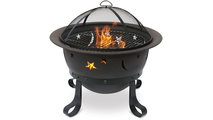 Oil Rubbed Bronze Wood Burning Outdoor Fire Pit with Stars And Moons