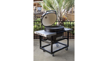 Primo Oval Junior 200 Ceramic Kamado Grill On Steel Cart With Side Tables - 774