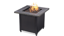 LP Gas Outdoor Fire Pit with Faux Stone Mantel