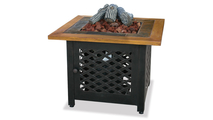 LP Gas Outdoor Fire Pit with Slate and Faux Wood Mantel