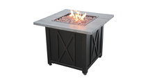 LP Gas Outdoor Fire Pit with Weathered Wood Grain Printed Mantel