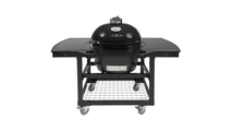 Primo Oval Large 300 Ceramic Kamado Grill On Steel Cart With 1-Piece Island Side Shelves & Cup Holders - 775