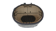 Primo Oval Large 300 Ceramic Kamado Grill On Steel Cart With Stainless Side Tables - 775