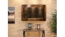 Calming Waters Interior Horizontal Wall Mounted Water Fountain with Rustic Copper Trim
