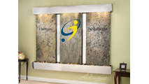 Harmony River Center (lights) with Stainless Steel Custom Trim and Blue Colored Glass w/Logo