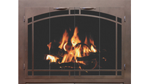 Cascade Zero Clearance Fireplace Door With Arch Door And Window Pane Design - Oil Rubbed Bronze Finish
