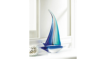 Sailboat Art Glass Statue