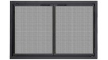 Stiletto Gate Mesh Zero Clearance Fireplace Door in Rustic Black with Simplicity Handles