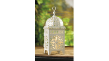 White Filigree Candle Lantern 2
