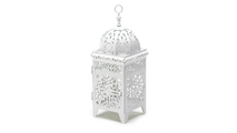 White Filigree Candle Lantern 1