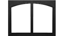 Cascade Arch Conversion Masonry Fireplace Door in Textured Black powder coat with cabinet style doors.
