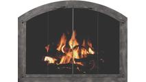 Cascade Arched Masonry Fireplace Door in Burnished Bronze with designer handles & bi-fold doors