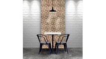 Ancient Boat Wood Mosaic Wall Tile Dining Room Setting