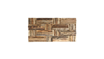 Close Up of the Antique Boat Wood Mosaic Wall Tile