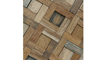 Close Up of the Freeport Boat Wood Mosaic Wall Tile