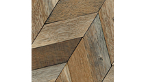Close Up of the Chevron Boat Wood Mosaic Wall Tile