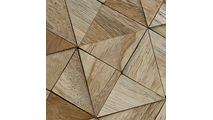Close Up of the Authentic Boat Wood Mosaic Wall Tile