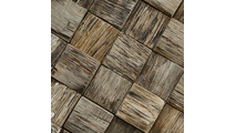 Close Up of the Reclaimed Boat Wood Mosaic Wall Tile
