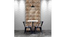 Belmont Boat Wood Mosaic Wall Tile Dining Room Setting