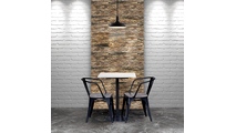 Stacked Boat Wood Mosaic Wall Tile Dining Room Setting