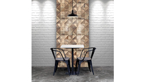 Authentic Boat Wood Mosaic Wall Tile Dining Room Setting