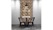 Heritage Boat Wood Mosaic Wall Tile Dining Room Setting