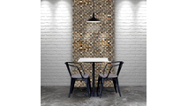 Reclaimed Boat Wood Mosaic Wall Tile Dining Room Setting