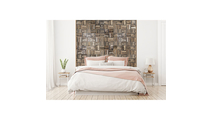 Weave Boat Wood Mosaic Wall Tile Bed Room Setting