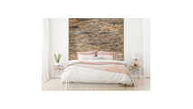 Stacked Boat Wood Mosaic Wall Tile Bed Room Setting
