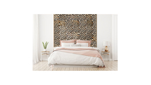 Reclaimed Boat Wood Mosaic Wall Tile Bed Room Setting