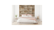 Antique Boat Wood Mosaic Wall Tile Bed Room Setting