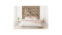 Heritage Boat Wood Mosaic Wall Tile Bed Room Setting