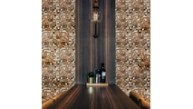 Belmont Boat Wood Mosaic Wall Tile Dining Room Setting2