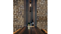 Weave Boat Wood Mosaic Wall Tile Dining Room Setting2