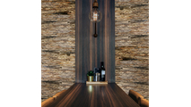 Stacked Boat Wood Mosaic Wall Tile Dining Room Setting2