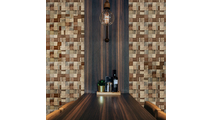 Heritage Boat Wood Mosaic Wall Tile Dining Room Setting2