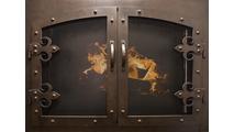 Portland Willamette Grand Forge II Masonry Fireplace Door shown in Brushed Black Copper And Fleur De Lis Hinge