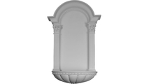 White Egg and Dart Fluted Surface Recessed Mount Wall Niche