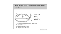 """28"""" Ashford Surface Mount Ceiling Dome Specifications"""