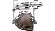 """15"""" Polished Chrome Finish and Walnut Textured Blind Corner Swing Out Left Handed Unit"""