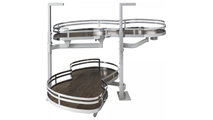"""21"""" Polished Chrome Finish and Walnut Textured Blind Corner Swing Out Left Handed Unit"""