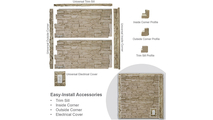 """48""""W Castle Rock Stacked Faux Stone Siding Panel Panel"""