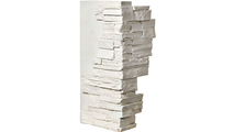 """12""""W Board Side & 11""""W Finger Side Dry Stack Faux Stone Outer Corner Siding Panel Dove White"""