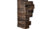 """12""""W Board Side & 11""""W Finger Side Dry Stack Faux Stone Outer Corner Siding Panel Java"""