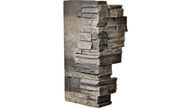 """12""""W Board Side & 11""""W Finger Side Dry Stack Faux Stone Outer Corner Siding Panel Platinum"""